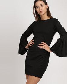 Utopia Ponti Dress With Pleated Sleeve Black