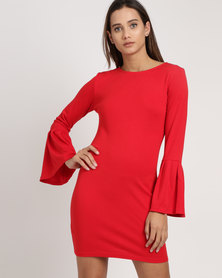 Utopia Ponti Dress With Pleated Sleeve Red