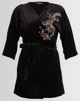 86236f2bd4f7 Utopia Embroidered Velvet Kimono Black