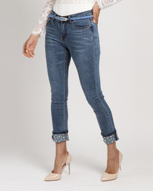 Utopia Roll Up Jeans With Pearl Trim Blue