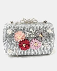 Miss Black Pearl Detail Clutch Bag Silver