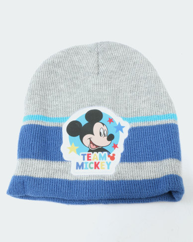 Character Brands Beanie & Mitten Set Mickey Mouse Grey/Blue