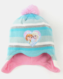 Character Brands Frozen Trapper Beanie & Gloves Set Pink/Blue Multi