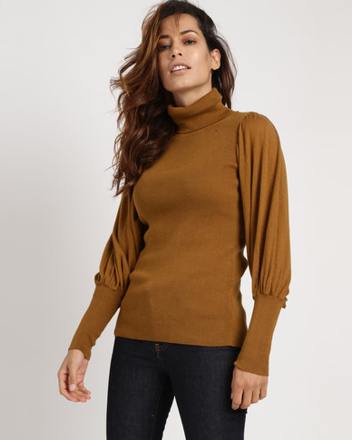 Utopia Poloneck With Puff Sleeves Camel
