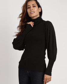 Utopia Poloneck With Puff Sleeves Black