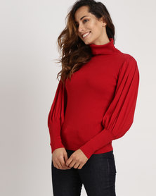 Utopia Poloneck With Puff Sleeves Red