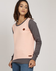 Lizzy Audrey Crew Sweat Dusty Pink and Charcoal