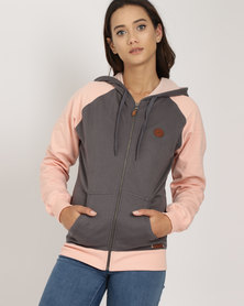 Lizzy Stine Zip Through Sweat Charcoal and Dusty Pink