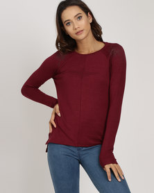 Lizzy Lisbet Sweater with Shoulder Embroidery Berry