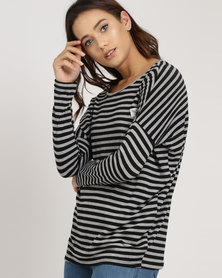 Lizzy Rosemary L/Slv Dolman Top Black and Charcoal Stripe