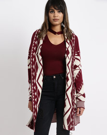 G Couture Printed Long Line Cardigan Burgundy/Cream