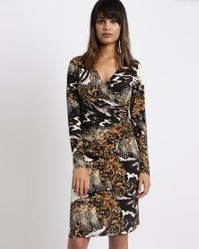 G Couture Floral Print Wrap Dress Black Multi