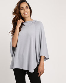 Blu Spiral Hooded Poncho Grey