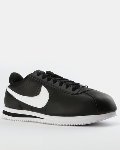 huge selection of b1ffc e69bb Nike Mens Cortez Basic Leather Sneakers Black/White