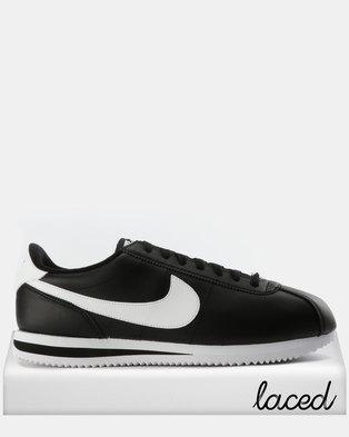 Nike Mens Cortez Basic Leather Sneakers Black White e0cec16b0
