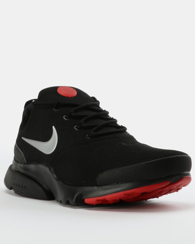 2b55b9391856 Nike Mens Presto Fly Sneakers Black Red