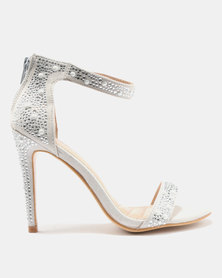 Courtney Cousins In Love with Candy Heeled Sandals Silver