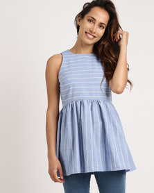 Your Style White Stripe Babydoll Top Light Blue