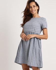 Your Style Stripe Flare Pocket Dress Dark Blue