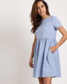 Your Style Stripe Flare Pocket Dress Light Blue