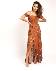SassyChic Trisha Maxi Dress Rust