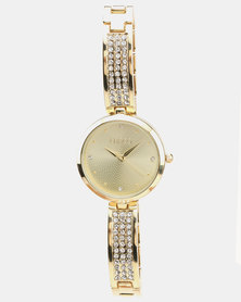 Lanco Strap Watch With Stone Earrings Gold-tone