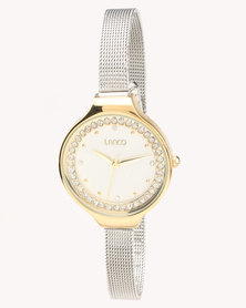 Lanco Mesh Strap Watch With Earring Set Gold-tone