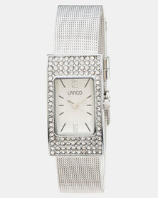 Lanco White Dial With Mesh Strap Watch Silver Steel