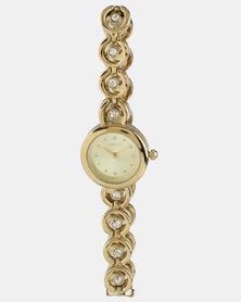 Lanco Watch With Bracelet & Studs Set Gold-tone