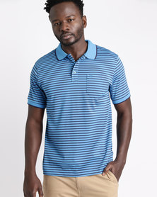 Ballantyne Striped Golfer Royal/Navy