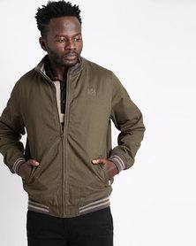 Ballantyne Tone-on-Tone Bomber Jacket Olive