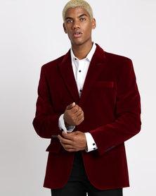 JCrew Velvet Fancy 2 Button Jacket Burgundy
