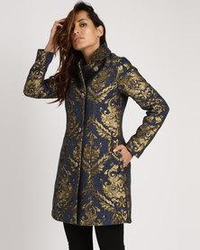 Cath.Nic Designer Damask Woven Coat Blue/Gold