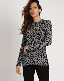 Cath.Nic Animal Printed Knit Top Black