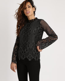 Cath.Nic Lace Woven Top Black