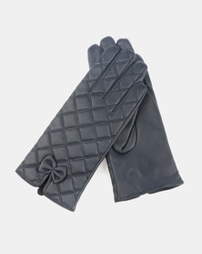 Queenspark Pleather With Small Bow Gloves Navy