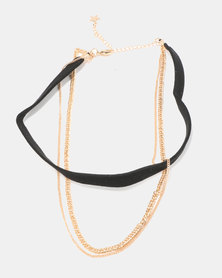 Courtney Cousins Lovers Block Choker Black/Gold-tone