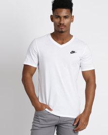 Nike  Mens Nike Sportswear VNK Club Embroidered Futura Tee White
