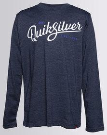 Quiksilver Boys Glass Off Long Sleeve T-Shirt Navy Blazer
