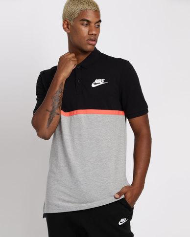 9669b6e3 Nike Mens Nike Sportswear Polo Matchup PQ NVLTY T-Shirt Black/Grey | Zando