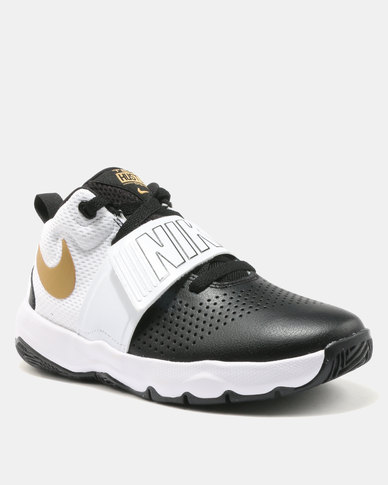 b0593a82b62 Nike Boys  Nike Team Hustle D 8 (GS) Basketball Shoe Black White Gold