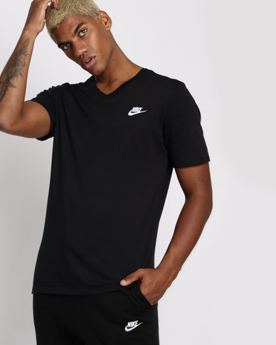 13fa1187 Nike Mens Sportswear V-Neck Club Embroidered Futura T-Shirt Black | Zando