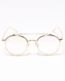 UNKNOWN EYEWEAR Pilot Clear Lenses Sunglasses Gold-Tone
