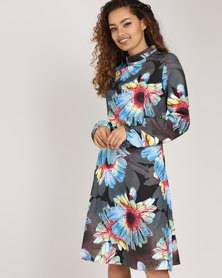 Utopia Floral High Neck A-line Dress Navy