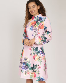Utopia Floral High Neck A-line Dress Pink