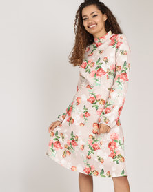 Utopia  Floral High Neck A-line Dress Nude