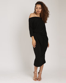 Utopia Brushed Poly Spandex Knit Draped Dress Black