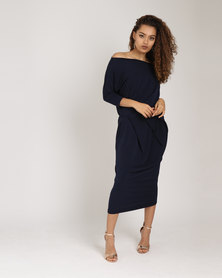Utopia Brushed Poly Spandex Knit Draped Dress Navy