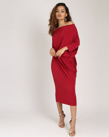 Utopia Brushed Poly Spandex Knit Draped Dress Red