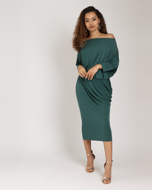 Utopia Brushed Poly Spandex Knit Draped Dress Green
